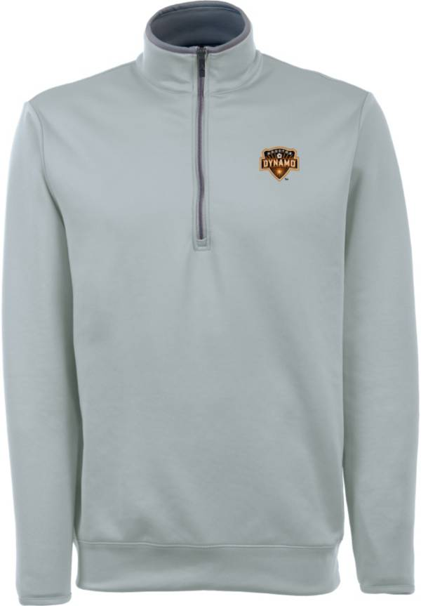 Antigua Men's Houston Dynamo Leader Silver Quarter-Zip Jacket product image