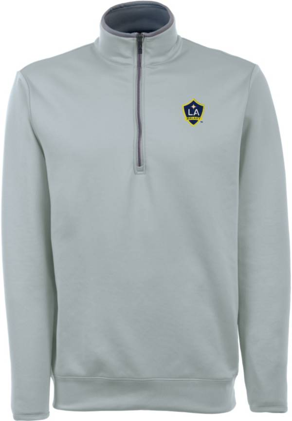 Antigua Men's Los Angeles Galaxy Leader Silver Quarter-Zip Jacket product image