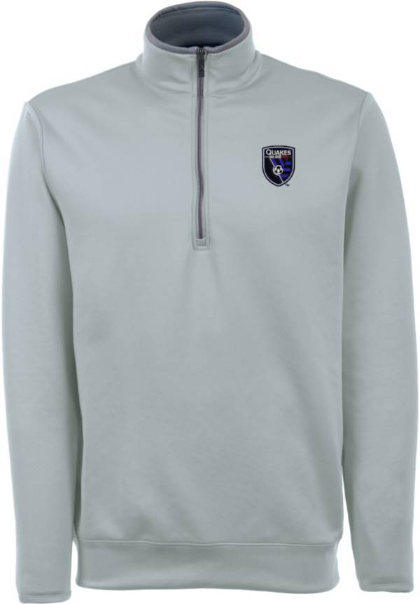 Antigua Men's San Jose Earthquakes Leader Silver Quarter-Zip Jacket product image