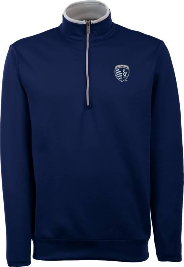 Antigua Men's Sporting Kansas City Leader Navy Quarter-Zip Jacket product image