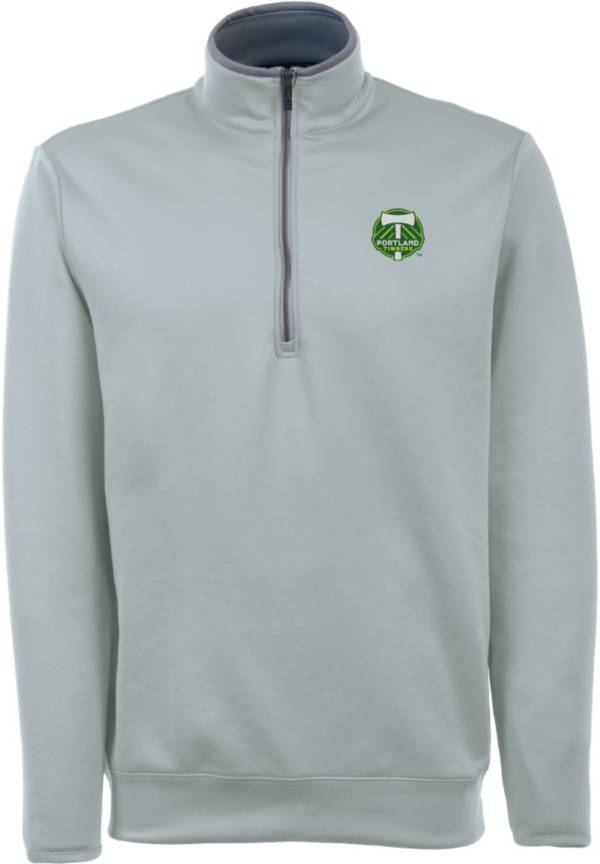 Antigua Men's Portland Timbers Leader Silver Quarter-Zip Jacket product image