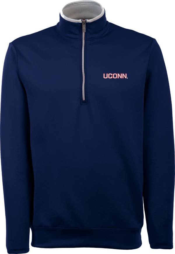 Antigua Men's UConn Huskies Blue Long Sleeve Leader Pullover Shirt product image