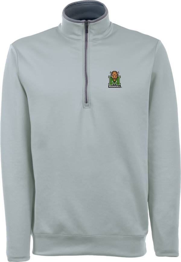 Antigua Men's Marshall Thundering Herd Grey Long Sleeve Leader Pullover Shirt product image