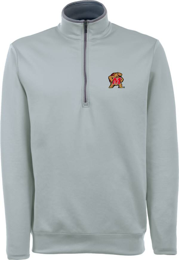 Antigua Men's Maryland Terrapins Grey Long Sleeve Leader Pullover Shirt product image