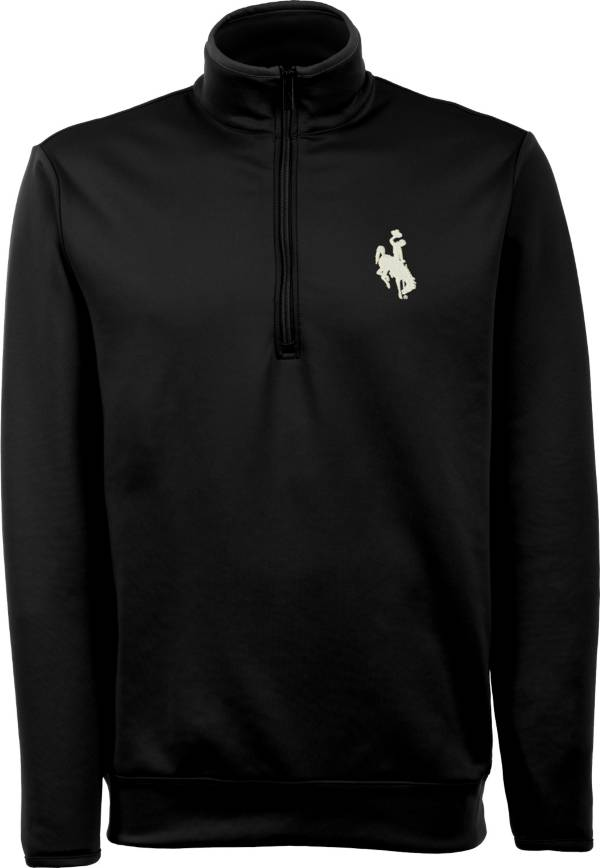 Antigua Men's Wyoming Cowboys Black Long Sleeve Leader Pullover Shirt product image