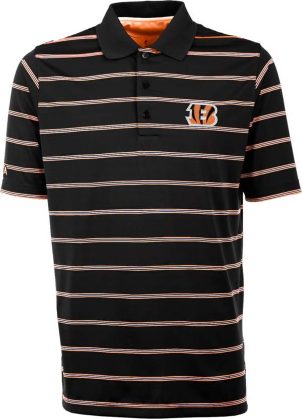 Antiqua Men's Cincinnati Bengals Black Deluxe Polo product image