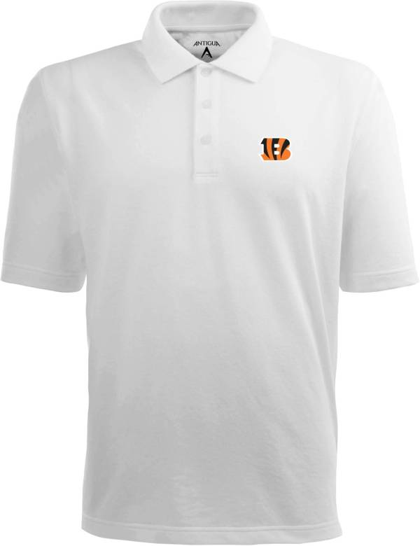 Antigua Men's Cincinnati Bengals Pique Xtra-Lite White Polo product image