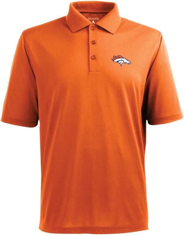 Antigua Men's Denver Broncos Pique Xtra-Lite Orange Polo product image
