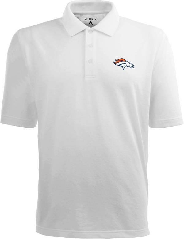 Antigua Men's Denver Broncos Pique Xtra-Lite White Polo product image