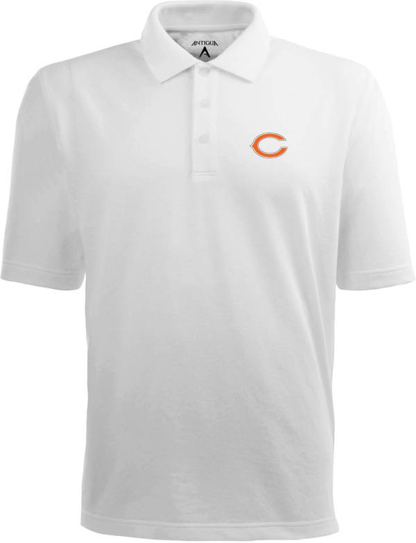 Antigua Men's Chicago Bears Pique Xtra-Lite White Polo product image