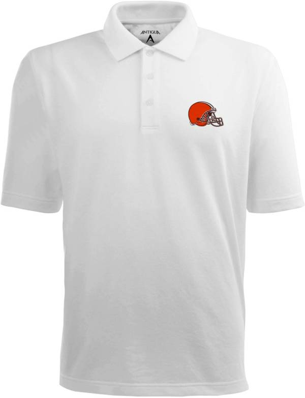 Antigua Men's Cleveland Browns Pique Xtra-Lite White Polo product image