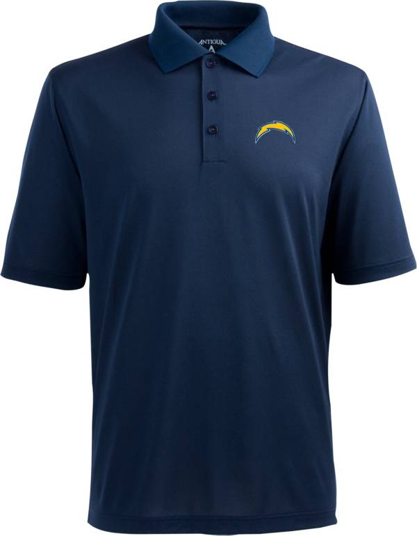 Antigua Men's Los Angeles Chargers Pique Xtra-Lite Navy Polo product image