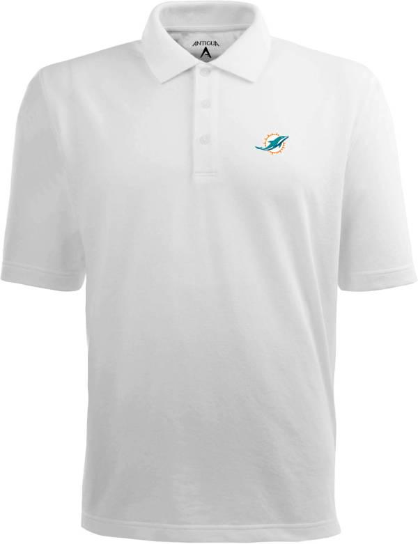 Antigua Men's Miami Dolphins White Xtra-Lite Pique Polo product image