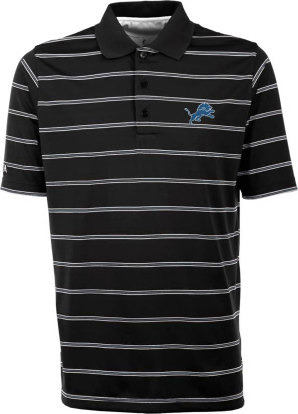 Antiqua Men's Detroit Lions Black Deluxe Polo product image