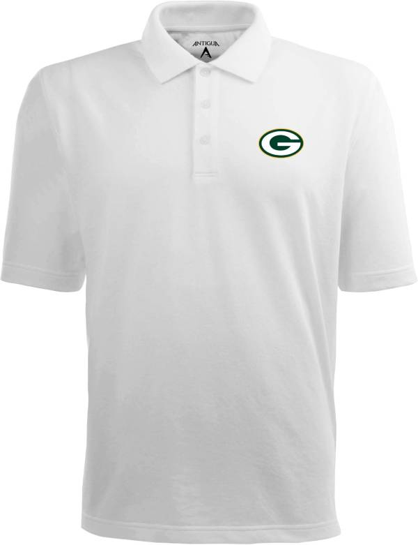 Antigua Men's Green Bay Packers Pique Xtra-Lite White Polo product image