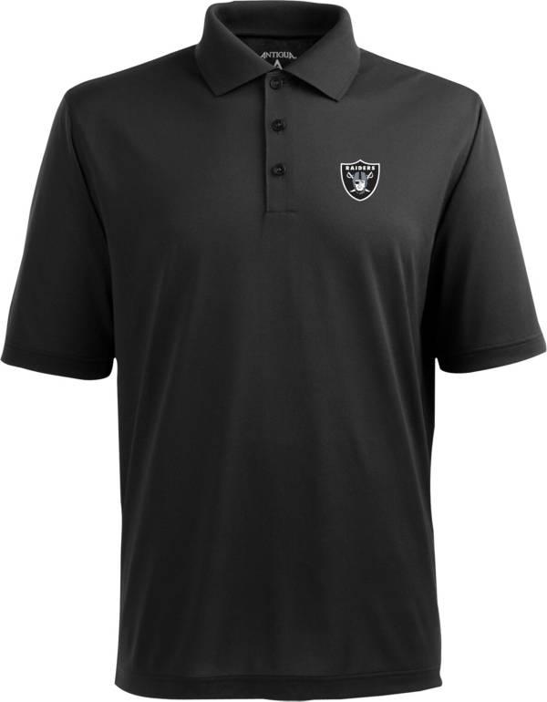 Antigua Men's Las Vegas Raiders Pique Xtra-Lite Black Polo product image
