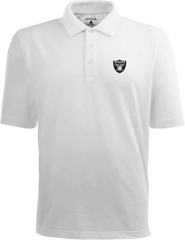 Antigua Men's Las Vegas Raiders Pique Xtra-Lite White Polo product image