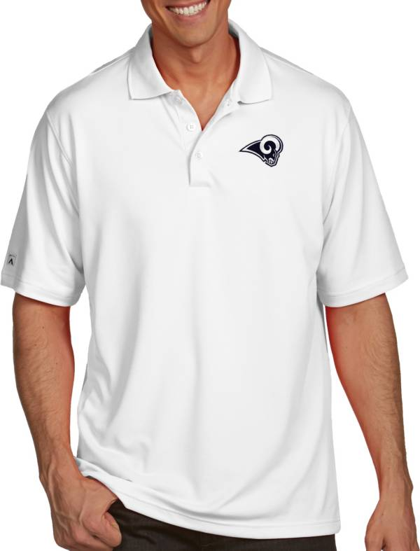Antigua Men's Los Angeles Rams Pique Xtra-Lite White Polo product image