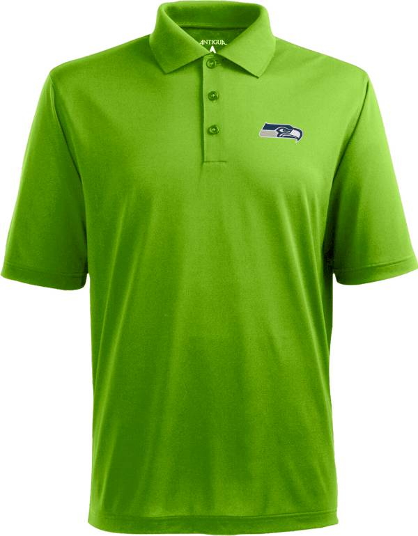 Antigua Men's Seattle Seahawks Pique Xtra-Lite Green Polo product image