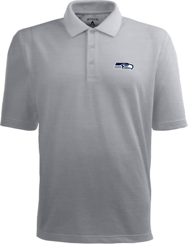 Antigua Men's Seattle Seahawks Pique Xtra-Lite Grey Polo product image