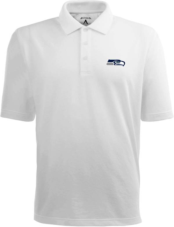 Antigua Men's Seattle Seahawks Pique Xtra-Lite White Polo product image