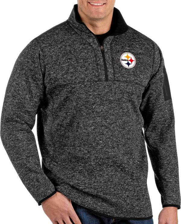 Antigua Men's Pittsburgh Steelers Fortune Black Pullover Jacket product image
