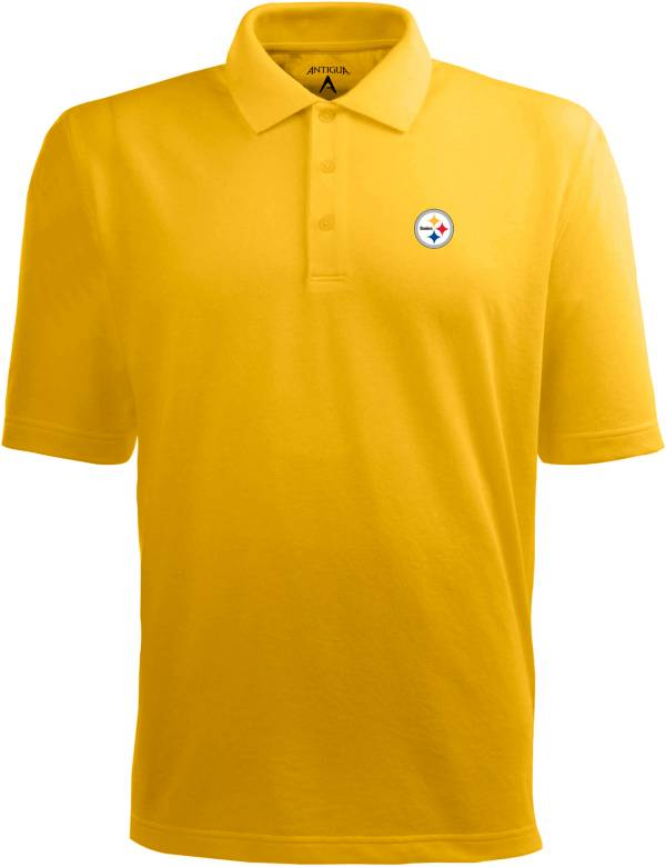 Antigua Men's Pittsburgh Steelers Pique Xtra-Lite Gold Polo product image