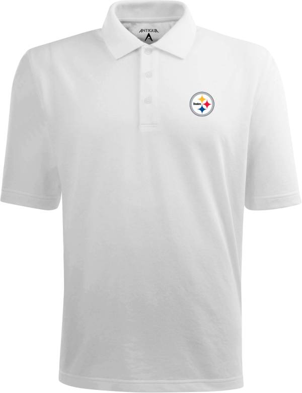 Antigua Men's Pittsburgh Steelers Pique Xtra-Lite White Polo product image