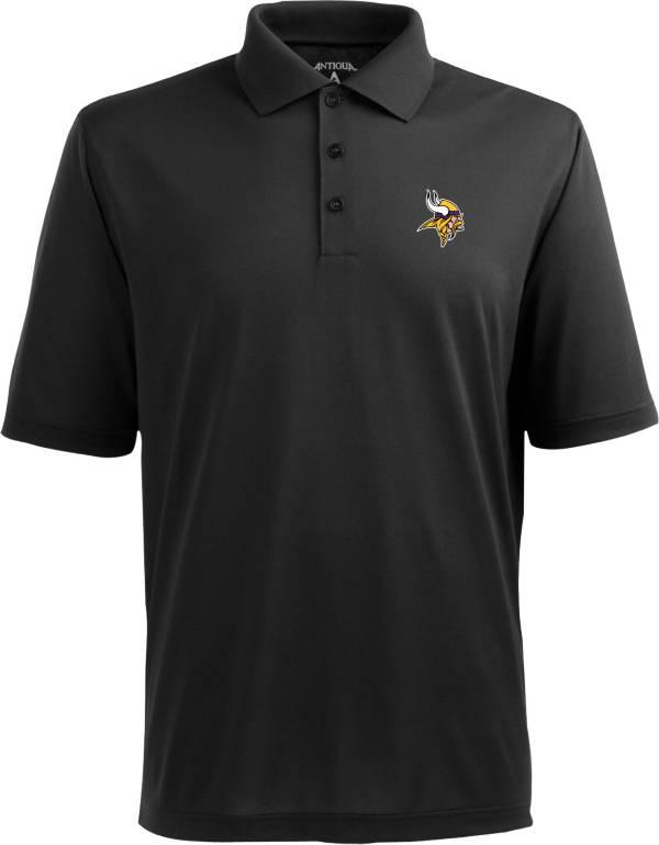 Antigua Men's Minnesota Vikings Pique Xtra-Lite Black Polo product image