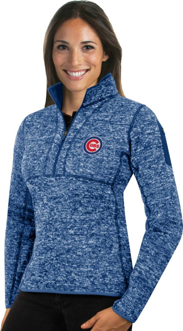 Antigua Women's Chicago Cubs Royal Fortune Half-Zip Pullover product image