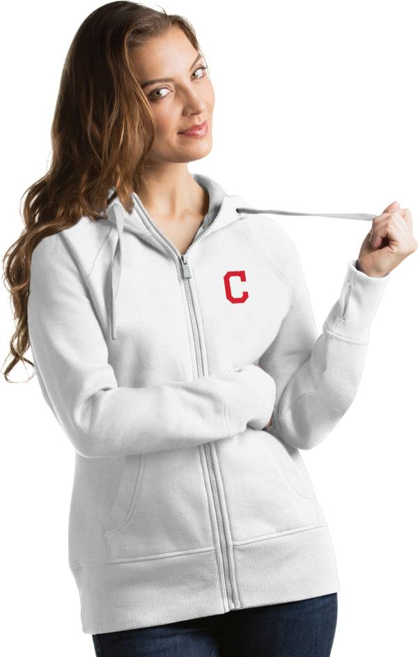 Antigua Women's Cleveland Indians White Victory Full-Zip Hoodie product image