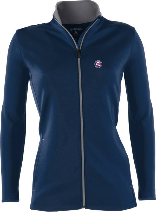 Antigua Women's Washington Nationals Leader Navy Full-Zip Jacket product image