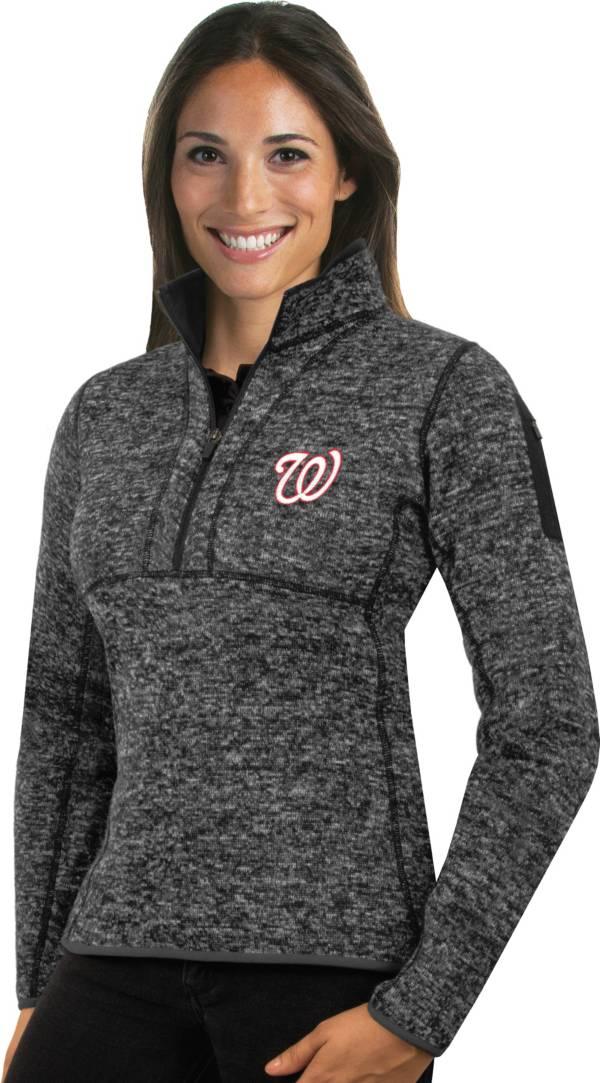 Antigua Women's Washington Nationals Grey Fortune Half-Zip Pullover product image