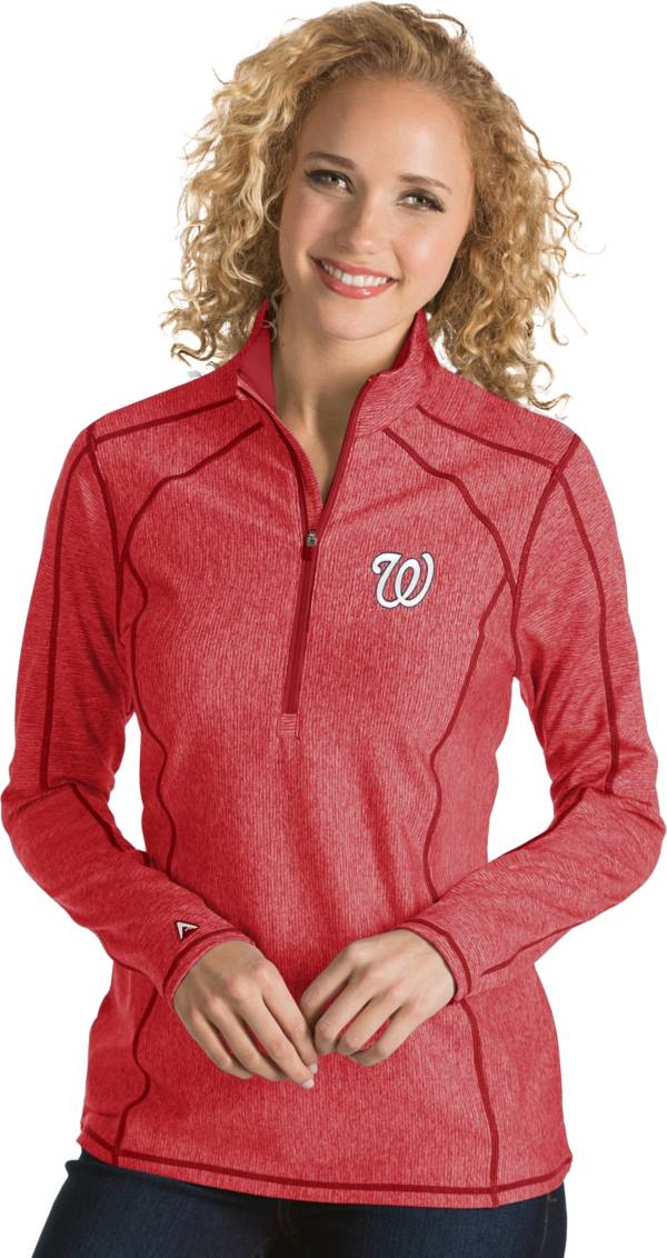 Antigua Women's Washington Nationals Red Tempo Quarter-Zip Pullover product image