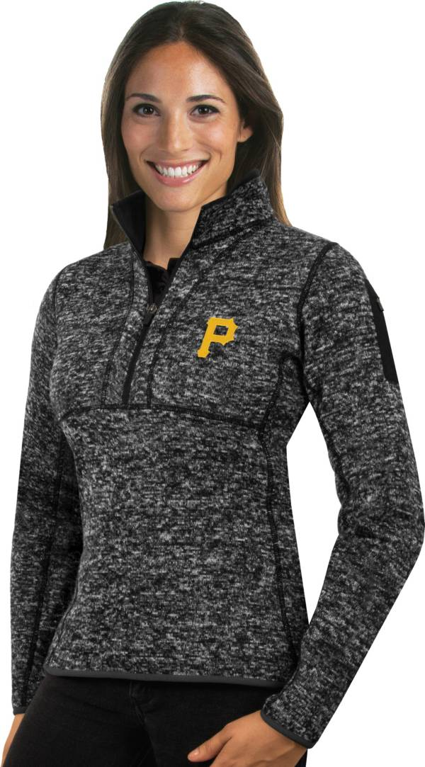 Antigua Women's Pittsburgh Pirates Black Fortune Half-Zip Pullover product image