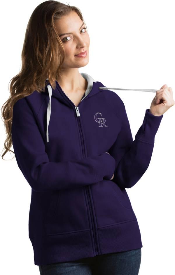 Antigua Women's Colorado Rockies Purple Victory Full-Zip Hoodie product image