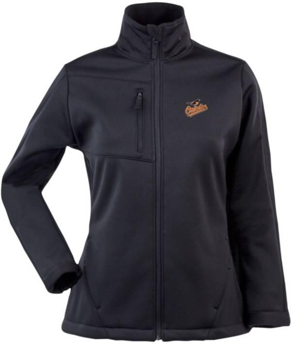 Antigua Women's Baltimore Orioles Traverse Soft Shell Full-Zip Black Jacket product image
