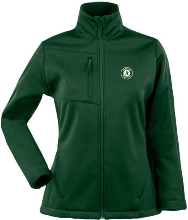 Antigua Women's Oakland Athletics Traverse Soft Shell Full-Zip Green Jacket product image