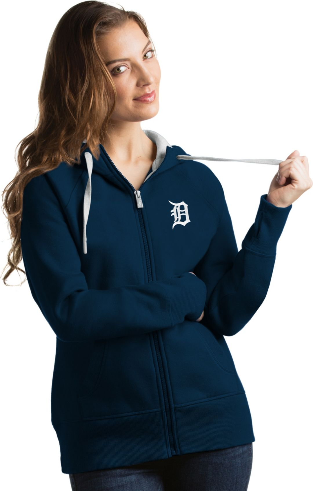 pretty nice 8a487 49f0e Antigua Women's Detroit Tigers Navy Victory Full-Zip Hoodie