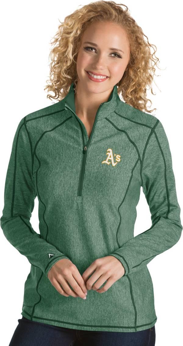 Antigua Women's Oakland Athletics Green Tempo Quarter-Zip Pullover product image