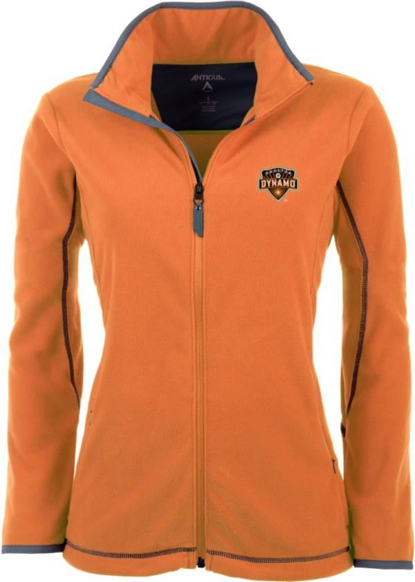 Antigua Women's Houston Dynamo Orange Ice Full-Zip Fleece Jacket product image