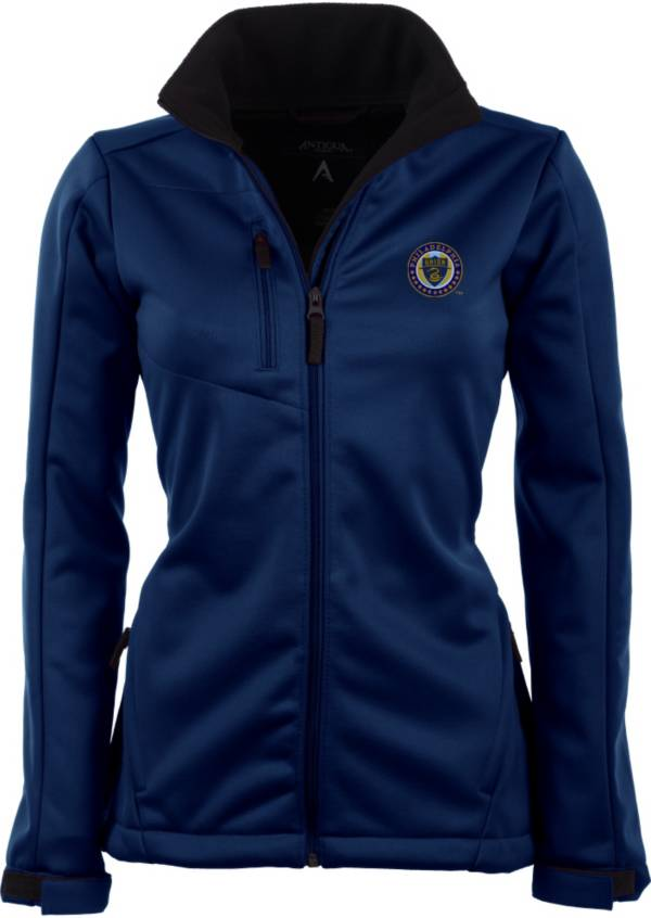 Antigua Women's Philadelphia Union Traverse Navy Soft-Shell Full-Zip Jacket product image