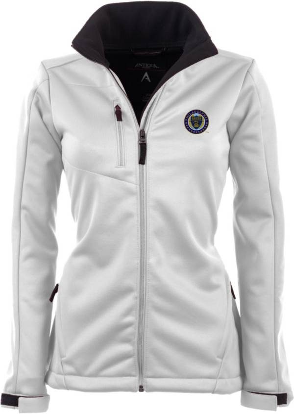 Antigua Women's Philadelphia Union Traverse White Soft-Shell Full-Zip Jacket product image