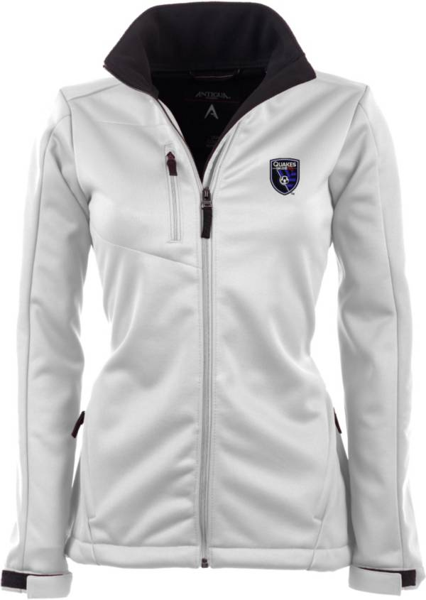 Antigua Women's San Jose Earthquakes Traverse White Soft-Shell Full-Zip Jacket product image