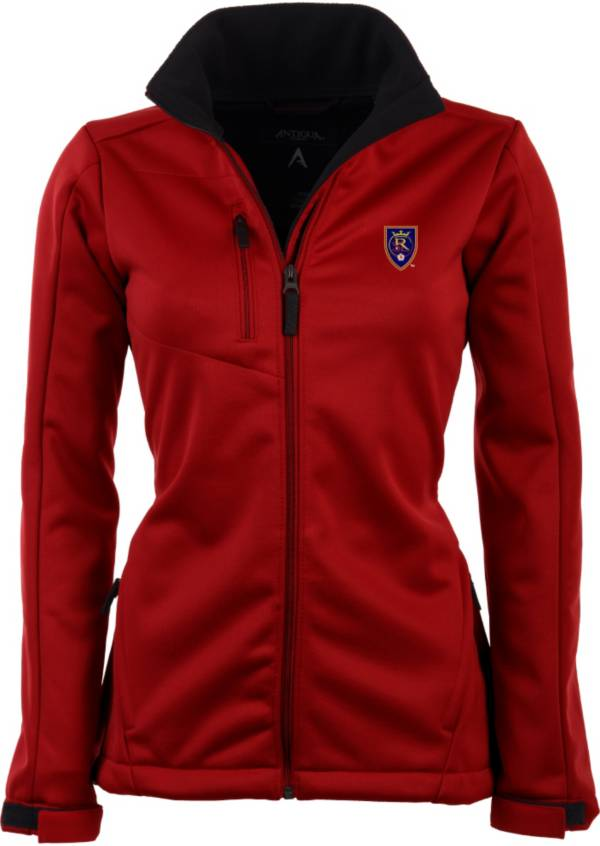 Antigua Women's Real Salt Lake Traverse Red Soft-Shell Full-Zip Jacket product image