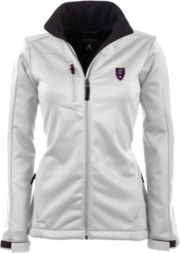 Antigua Women's Real Salt Lake Traverse White Soft-Shell Full-Zip Jacket product image