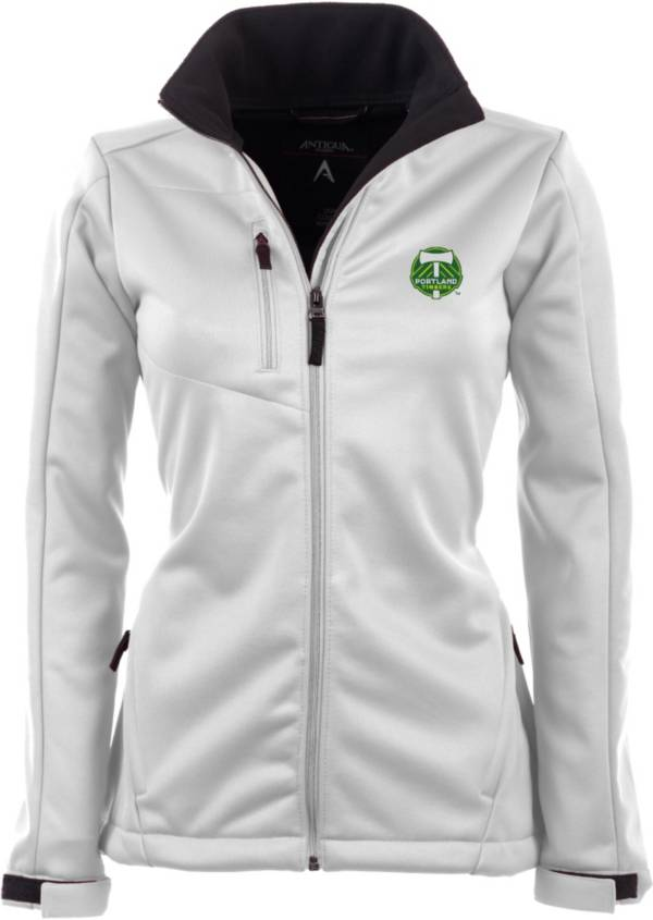 Antigua Women's Portland Timbers Traverse White Soft-Shell Full-Zip Jacket product image