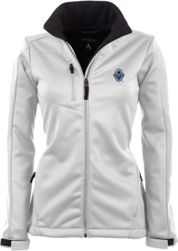 Antigua Women's Vancouver Whitecaps Traverse White Soft-Shell Full-Zip Jacket product image