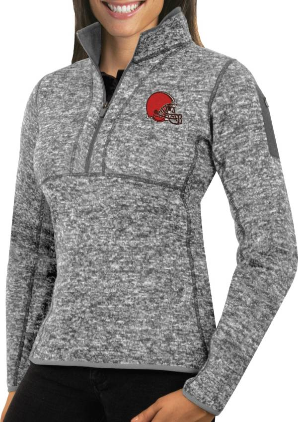 Antigua Women's Cleveland Browns Fortune Grey Pullover Jacket product image