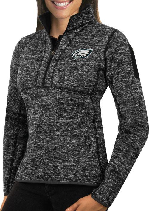 Antigua Womens Philadelphia Eagles Fortune Black Pullover Jacket